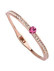 abordables -Femme Strass Plaqué or Adorable Manchettes Bracelets Bracelet - Décontracté Forme de Cercle Or Rose Bracelet Pour Cadeau Quotidien
