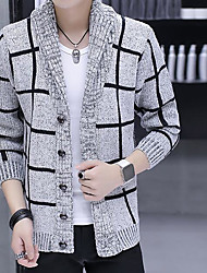 cheap -Men's Others Casual Long Cardigan,Print Shirt Collar Long Sleeves Polyester Autumn Medium Micro-elastic