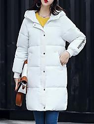 Lungo Piumino Da donna,Cappotto Moda città Casual Ufficio Tinta unita Cotone Polipropilene Manica lunga