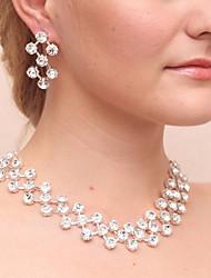 abordables -Femme Strass Imitation Diamant Ensemble de bijoux 1 Collier / Boucles d'oreille - Classique Forme Géométrique Argent Boucles d'oreille