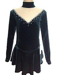 abordables -Robe de Patinage Artistique Femme Fille Patinage Robes Vert foncé Spandex Strass Extensible Tenue de Patinage Fait à la main Paillette