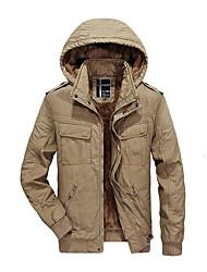Недорогие -Пальто Простой Обычная Парка Для мужчин,Контрастных цветов Спорт На каждый день Хлопок Искусственный шёлк Длинный рукав
