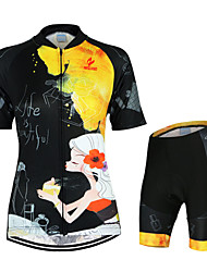 cheap -Arsuxeo Women's Short Sleeves Cycling Jersey with Shorts - Black/Yellow Floral / Botanical Bike Clothing Suits, Quick Dry, Anatomic