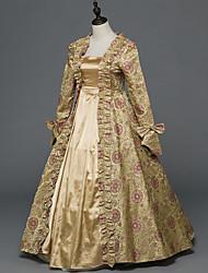 Victorien Rococo Féminin Adulte Costume de Soirée Bal Masqué Doré Cosplay Satin Stretch Manches Longues Longueur Sol