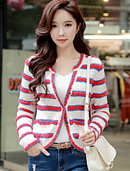 cheap -DABUWAWA Women's Daily Going out Vintage Casual Regular Cardigan,Solid Striped Round Neck Long Sleeves Acrylic Polyester Nylon Autumn Spring Medium