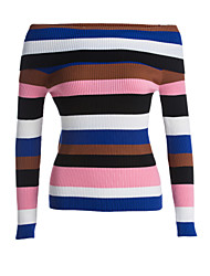 Women's Daily Holiday Casual Regular Pullover,Striped Boat Neck Long Sleeves Acrylic Winter Fall Medium Micro-elastic