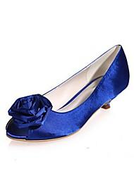 preiswerte -Damen Schuhe Seide Frühling Sommer Pumps Hochzeit Schuhe Niedriger Heel Peep Toe Applikationen Schnalle für Hochzeit Party & Festivität