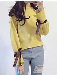 Corto Cashmere Da donna-Per uscire Casual Tinta unita Rotonda Manica lunga Cotone Autunno Inverno Medio spessore Media elasticità