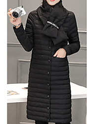 Women's Down Coat,Casual Daily To-Go Solid-Polyester Long Sleeves