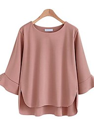 cheap -Women's Daily Daily Wear Vintage Street chic Blouse,Solid Round Neck 3/4 Length Sleeve Cotton Medium