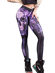 cheap -Women's Daily Basic Legging - Skull, Print Mid Waist / Spring / Summer / Fall / Sporty Look / Skinny