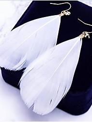 abordables -Mujer Pendientes colgantes Bohemio De Gran Tamaño Pluma Legierung Forma de Hoja Pluma Joyas Para Diario Calle