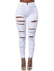 cheap -Women's Low Rise Inelastic Skinny Pants,Casual Solid Cotton Polyester Summer All Seasons