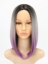 economico -Donna Parrucche sintetiche Medio Dritto Nero - viola Capelli schiariti Attaccatura dei capelli naturale Parrucca Cosplay Parrucca