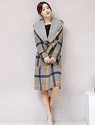 cheap -Women's Sophisticated Wool Coat-Color Block,Print