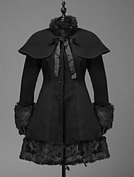 cheap -Winter Sweet Lolita Cape Coat Princess Wool Women's Girls' Adults' Coat Cosplay Black Long Sleeves