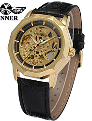 preiswerte -WINNER Herrn Automatikaufzug Mechanische Uhr / Armbanduhr Transparentes Ziffernblatt / Cool Leder Band Luxus / Retro / Freizeit Schwarz