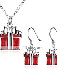 cheap -Women's Jewelry Set Gift Fashion Christmas New Year Zircon Copper Silver Plated 1 Necklace Earrings