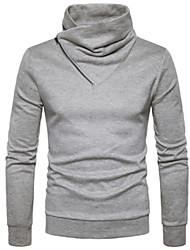 cheap -Men's Daily Regular Pullover,Solid Turtleneck Long Sleeves Others Winter Fall Medium strenchy