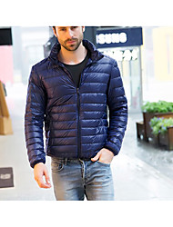 cheap -Men's Down Coat,Casual Daily Solid-Down Long Sleeves