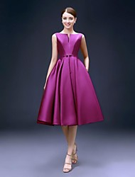 A-Line Fit & Flare Bateau Neck Knee Length Satin Cocktail Party Homecoming Dress with Pockets by FALILU