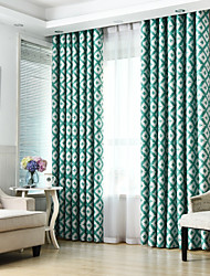 cheap -Rod Pocket Grommet Top Tab Top Double Pleat Pencil Pleat Curtain Nautical Casual Bohemian Country, Printed & Jacquard Geometric Bedroom