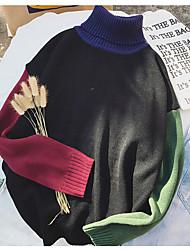 Standard Pullover Da uomo-Casual Tinta unita Monocolore Dolcevita Manica lunga Altro Autunno Medio spessore strenchy