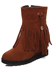 cheap -Women's Shoes Leatherette Winter Snow Boots Boots Round Toe Mid-Calf Boots for Dress Beige / Brown / Red