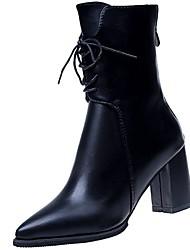 Feminino Sapatos Couro Ecológico Inverno Conforto Botas da Moda Botas Dedo Apontado Botas Cano Médio Para Casual Preto Verde