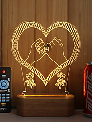 cheap -1 Set Of 3D Solid Wood LED Night Light USB Mood Lamp Remote Control Dimming Gift Pull The Hook
