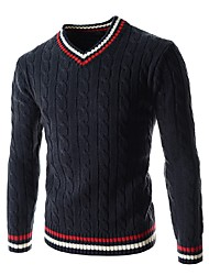 cheap -Men's Weekend Long Sleeves Pullover - Solid Colored Color Block V Neck