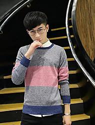 Herrer I-byen-tøj Lang Pullover Trykt mønster,Rund hals Langærmet Polyester Forår Efterår Tyk Mikroelastisk