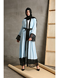 cheap -Women's Party Daily Wear Casual Kaftan Dress,Color Block Patchwork Stitching Lace Round Neck Maxi Long Sleeve Polyester All Season High