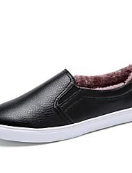 preiswerte -Damen Schuhe Echtes Leder Herbst Winter Leuchtende Sohlen Loafers & Slip-Ons Runde Zehe Für Normal Schwarz