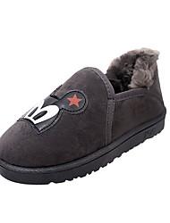 Feminino Sapatos Pele Nobuck Couro Ecológico Inverno Conforto Mocassins e Slip-Ons Ponta Redonda Para Casual Preto Cinzento