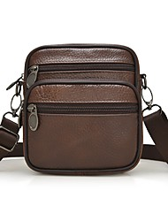 cheap -Men Bags Cowhide Crossbody Bag Zipper for All Season Brown