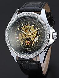 preiswerte -WINNER Herrn Armbanduhr / Mechanische Uhr Transparentes Ziffernblatt / Cool Leder Band Freizeit Schwarz / Automatikaufzug