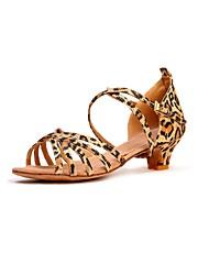 Недорогие -Жен. Танцевальная обувь Сатин Обувь для латины На каблуках Каблуки на заказ Персонализируемая Цвет-леопард / В помещении / Кожа / EU39