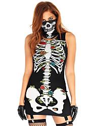 abordables -Squelette / Crâne Féminin Halloween Fête / Célébration Déguisement d'Halloween Noir Imprimé