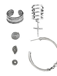 baratos -Mulheres Cruz Brincos Curtos / Brincos em Argola - Hip-Hop / Fashion Prata Forma Geométrica / Irregular Brincos Para Bagels / Bandagem