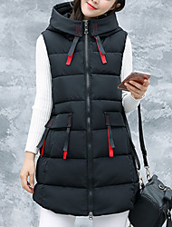 Women's Vest Coat,Casual Daily To-Go Solid-Polyester Sleeveless