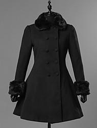 cheap -Princess Winter Sweet Lolita Coat Wool Women's Girls' Coat Cosplay Black Long Sleeve Knee Length Halloween Costumes
