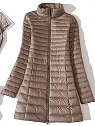 Women's Long Down Coat,Casual Active Daily To-Go Solid-Polyester Long Sleeves
