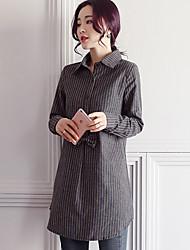Недорогие -Для женщин На выход Рубашка Рубашечный воротник,Уличный стиль Однотонный Полоски Длинный рукав,Хлопок Полиэстер