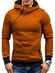 cheap -Men's Plus Size Daily Sports Casual Hoodie Solid Hooded Cotton Acrylic Polyester Long Sleeves Spring Fall/Autumn