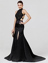 cheap -Mermaid / Trumpet High Neck Court Train Chiffon Lace Formal Evening Dress with Split Front by TS Couture®