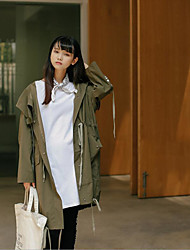 Women's Daily To-Go Simple Casual Winter Down,Solid Hooded Long Sleeves Maxi Cotton