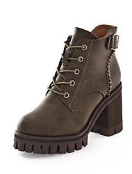 Недорогие -Для женщин Обувь Полиуретан Зима Удобная обувь Армейские ботинки Ботинки Круглый носок для Повседневные Черный Военно-зеленный Хаки