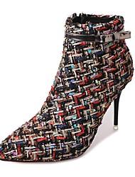 preiswerte -Damen Schuhe PU Winter Komfort Pumps Stiefel Spitze Zehe Booties / Stiefeletten Für Schwarz