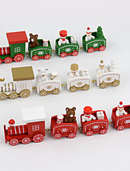 4 PCS/Set Christmas Gift Wooden Train Home Decoration Children Gift 20*4.5*3cm
